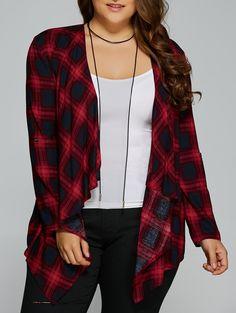 Plus Size Asymmetrical Gingham Cardigan in Checked | Sammydress.com
