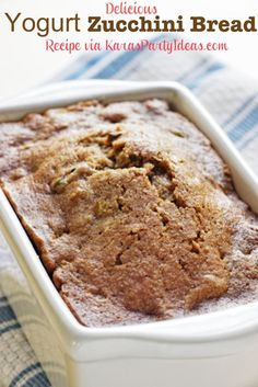 THE BEST and most delicious Yogurt Zucchini Bread recipe from Kara's Party Ideas KarasPartyIdeas.com #recipe #bread #zucchini