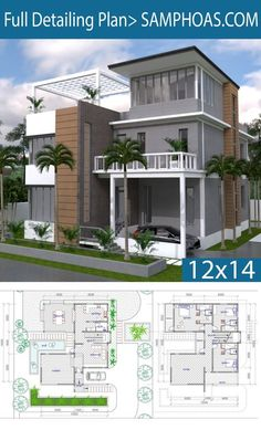 3 Story House Plan With 4 Bedrooms - SamPhoas Plansearch 2bhk House Plan, Model House Plan, Beach House Plans, Duplex House Plans, Dream House Plans, Story House, Best Home Plans, Unique House Plans, House With Balcony
