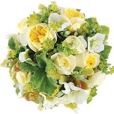 hellebores, geranium leaves, bupleurum, garden roses, lady slipper orchids, hydrangeas, ranunculus