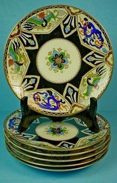 Set of Six Japanese Morimura Nippon Porcelain Art Deco Plates | eBay