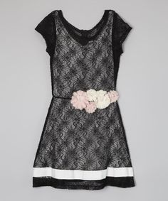 Another great find on #zulily! Black & White Floral Lace Dress by Elisa B. #zulilyfinds