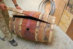 Oak Wine Barrel Coffee Table : 11 Steps (with Pictures) - Instructables Wine Barrel Coffee Table, Wine Barrel Chairs, Wine Barrel Furniture, Diy Coffee Table, Wine Barrels, Table Baril, Barrel Projects, Salvaged Wood, Shabby Chic Cottage