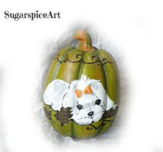 Maltese Hand Painted Autumn Harvest Halloween Pumpkin Home Decor SugarspiceArt