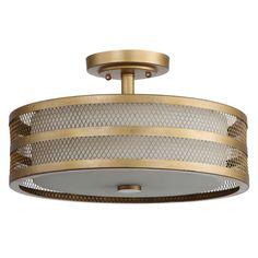 $120 Home Depot Safavieh Great Veil 3-Light Antique Gold Semi-Flush Mount Light