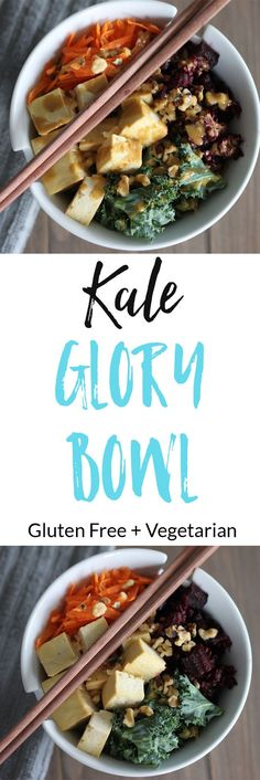 Kale Glory Bowl - Delicious energy and protein bowl with tofu, kale, walnuts, and rice that is gluten free and vegetarian. via /euphorianutr/