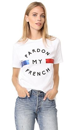 Etre Cecile Pardon My French T-shirt In White Tees For Women, Clothes For Women, White Cotton T Shirts, Cotton Tee, Cecile, T Shirt And Shorts, Short Tops, Mens Outfitters, Short Sleeve Tee