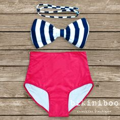 Bow Bandeau Bikini - Vintage Style High Waisted Pin-up Swimwear -  Red with Black and White Bow - Unique & So Cute! on Etsy, $56.12 CAD