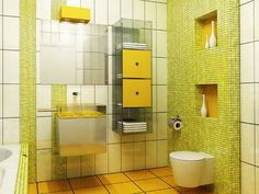 If you like bright colors and unusual solutions, you will like this bathroom. Interesting cabinet make your towels easliy available.