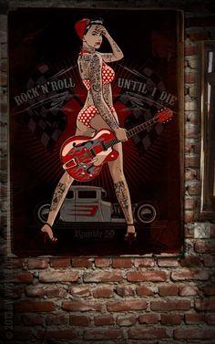 Rumble59 Poster - Until I Die - Poster mit handgemaltem Pin-Up Motiv auf hochwertigem Papier und in großem Format. - Rockabilly-Rules.com