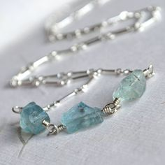 Natural Aquamarine Necklace Sterling Silver Wire by moonovermaize, $48.00