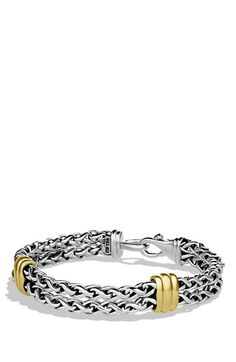 David+Yurman+'Cable'+Two-Station+Chain+Bracelet+with+Gold+available+at+#Nordstrom