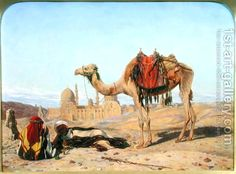 Dromedary and Arabs at the City of the Dead, Cairo, 1856 Thomas Seddon | Oil Painting Reproduction | 1st-Art-Gallery.com
