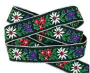 """Cream and white 2"""" ribbon (photo wrong) Alpine flowers embroidered ribbon"""