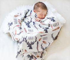 Personalized Baby Blanket-Deer Antlers And Arrows- Boho-Hunting-Nursery-Deer Antler-Swaddle Blanket-Printed Blanket -Baby Boy-Feather Theme by AGreatBaby on Etsy https://www.etsy.com/listing/227282451/personalized-baby-blanket-deer-antlers