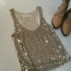 A&F Gold Sequins Top Top under sequins is sheer. Abercrombie & Fitch Tops Tank Tops