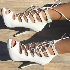 White Open Toe Lace Up Heels