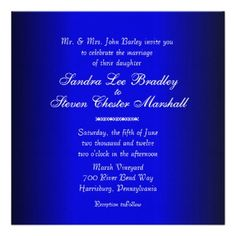 Blue and Black Modern Wedding Invitation