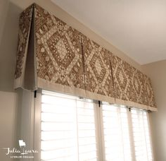 Custom Box Pleat Valance - Traditional - Indianapolis - by Julia Laura Interior . Valance Window Treatments, Custom Window Treatments, Kitchen Window Treatments, Window Coverings, Window Valances, Box Pleat Valance, Valences For Windows, Bay Windows, Window Toppers