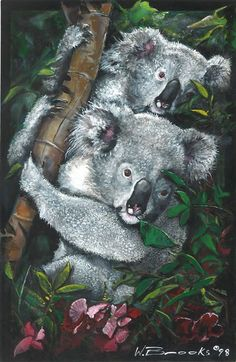 Artist, Wendell Brooks has created a beautiful and loving painting of two Koala Bears. They are so adorable in their own habitat. Journey with us as we look through the eyes of Master Artist Wendell Brooks. Koala Bears, Black Art, Habitats, This Is Us, Beautiful Pictures, Birds, Artist, Prints, Painting