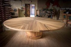 Expanding Round Table Teak Wood Dining Room