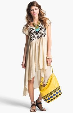 a7e752ad1a Free People  Marina  Embroidered High Low Dress