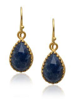 Kevia Rococo Pear Shaped Earrings, Sapphire