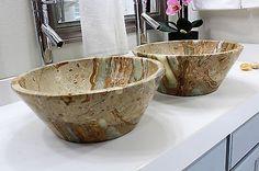 2-Modern-Natural-Stone-Bathroom-Vessel-Sinks-Conic-Onyx-Travertine-Marble