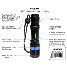 Updated XPE LED Flashlight. Great for Walking your Dog or work on your Car. http://simonflashlights.net/product/xpe-200/ This small Flashlight is Adjustable from a Tight Beam to a Broad Beam just by Twisting The Head Unit. ONLY $25.00 In Stock Ready To Ship, So Get Yours Today!