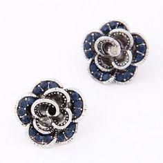 Sweet Korean Fashion Czech Rhinestone Decorated Vintage Rose Ear Studs