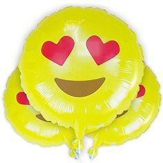 "Heart Eyes LOVE Emoji Balloons - 3 Pack Helium Mylar 18"" ..."