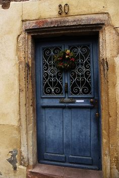 Beautiful blue wooden door