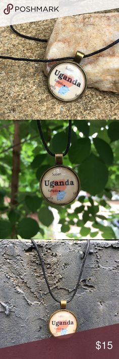 Uganda Pendant Timeless Adventures Uganda Pendant. Black waxed necklace. Jewelry Necklaces