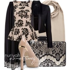 Hijab Outfit by Nuriyah O. Martinez      Peplum top €17-newlook.com    Tess Giberson black blazer €575-farfetch.com    Long skirt €69-bonprix.co.uk    MANGO platform pumps €33-mango.com    Lane Bryant black handbag €19-lanebryant.com    Brown shawl €18-tkmaxx.com