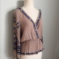 Free People Taupe Embellished Peasant Top; Sz XS! Beautiful Free People Taupe peasant too with embellishing and embroidery throughout; the sleeves are the best part cinched at waist, can be worn belted or not, Sz XS. NWOT. Free People Tops Blouses