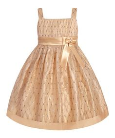 Take a look at this Champagne Rhinestone Lattice Dress - Toddler by LOVE on #zulily today!