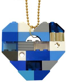 Playful Blue necklace  Chunky heart pendant  by MademoiselleAlma #MademoiselleAlma #LEGO #ETSY