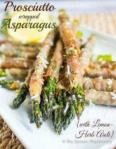 Prosciutto wrapped Asparagus with Lemon-Herb Aioli