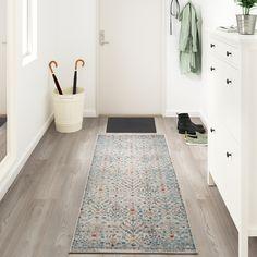 ROMDRUP Rug, low pile, beige antique look, floral patterned - IKEA Entryway Runner, Entryway Rug, Entryway Ideas, Entrance Ideas, Hallway Ideas, Hallway Rug, Plush Carpet, Shag Carpet, Carpet Tiles