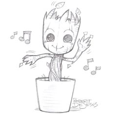 Dancing Groot by Banzchan on deviantART-this person does really awesome drawings, please go check it out! Trust me! :)