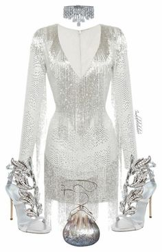 A fashion look from July 2016 featuring white long-sleeve dresses, Giuseppe Zanotti and choker necklaces. Browse and shop related looks. Classy Outfits, Chic Outfits, Dress Outfits, Girl Outfits, Rock Outfits, Kpop Fashion Outfits, Stage Outfits, Fashion Dresses, School Outfits
