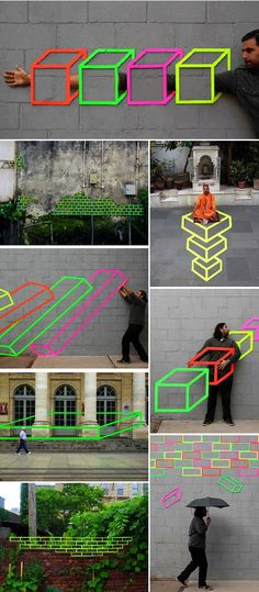 Aakash Nihalani- street art  with fluorescent tapes