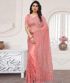 Designer Net SareeOccasion sareeDesign Wedding Wear SareeWomen Party Wear Nylon Net With Desiger Embrodery work T0640