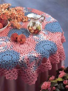 Crochet Pattern - Quick & Easy Round Tablecloth (I'd use one solid color for this.)