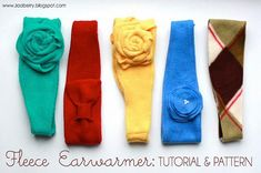 Ruby from Zaaberry shares a free pattern for making a fleece ear warmer headband. It's quick to put together can be embellished to your liking with fleece bows, fabric flowers, buttons and m… Fleece Crafts, Fleece Projects, Easy Sewing Projects, Sewing Tutorials, Fabric Crafts, Sewing Crafts, Dress Tutorials, Sewing Ideas, Fleece Patterns