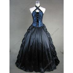 Victorian Gothic Satin Corset Ball Gown Prom Dress Reenactment... ❤ liked on Polyvore featuring dresses, gowns, victorian day dress, gothic lolita dress, gothic dress, victorian dress and gothic clothing dresses