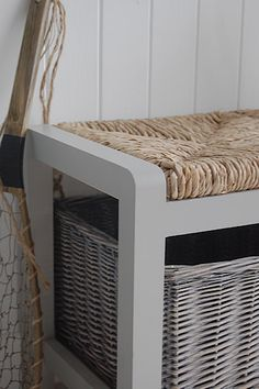 A grey storage bench from The White Cottage Living. Hall furniture solutions