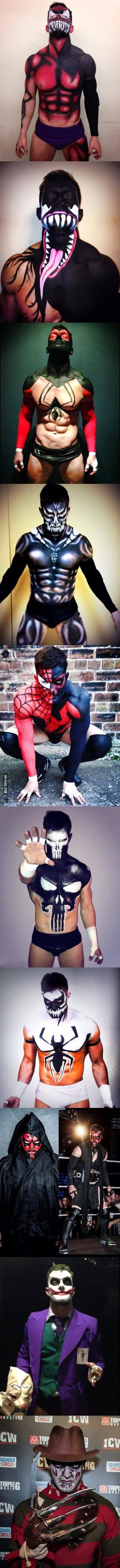 Irish pro wrestler Prince Devitt puts on amazing bodypaints before stepping into the ring each time.