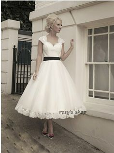 2014 New Fashion Custom Made Tea-length Open Back 1950's Vintage Lace Short Wedding Dress $129.99