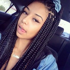 "Box braids or ""Poetic Justice"" braids, have continued to become a vibrant and popular hair statement. Check out our list of 35 Poetic Justice Braids Styles! Box Braid Hair, Big Box Braids, Box Braids Styling, Medium Sized Box Braids, Box Braids Sizes, Hairstyle Braid, Styles With Box Braids, Box Braids For Kids, Purple Box Braids"